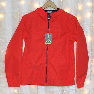 Waterproof Neon Red Orange Windbreaker Rain Jacket